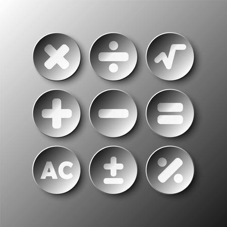 Simple, noir, 3D, cercle, papier, calculatrice, signe, icône, vecteur, conception, Illustration, concept