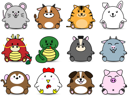 Cute Fatty cartoon of chinese zoidac horoscope animal sign collection set  イラスト・ベクター素材