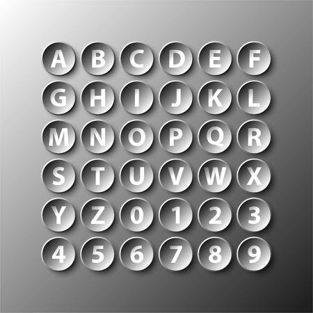 Simple, noir, 3D, cercle, papier, alphabet, nombre, icône, vecteur, conception, Illustration, concept