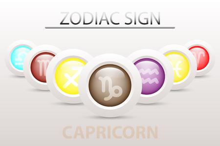 Horoscope astrologie signe du zodiaque symbole de Capricorne sur la séquence avec 3d bouton simple bouton blanc et ombre dans la conception graphique icône vecteur Illustration