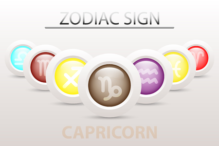 Horoscope astrology zodiac sign symbol of Capricorn on sequence with 3d simple white button paper and shadow drop in graphic design icon vector