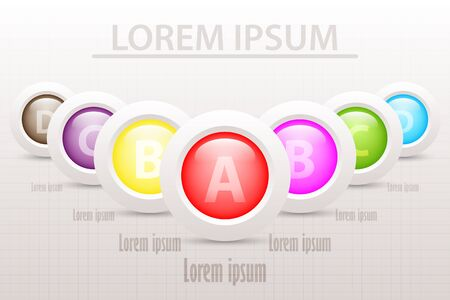 L'icône en couleur du cercle 3D coloré repose sur la séquence avec quatre sujets pour la conception vectorielle concept d'illustration