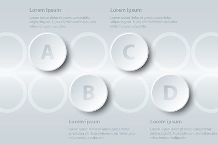 Four topics simple white paper 3D circle on sequence for website presentation cover poster vector design infographic illustration concept