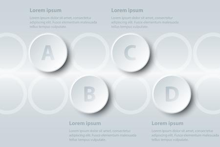 Quatre sujets simple papier blanc cercle 3D sur la séquence pour la présentation du site couverture affiche vecteur conception infographique illustration concept