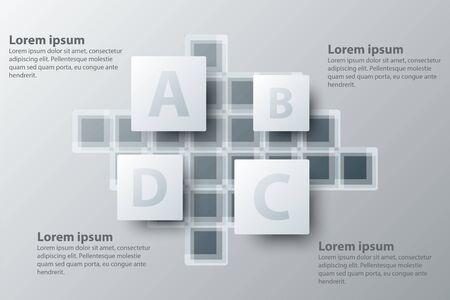 Quatre sujets simple carré blanc carré 3d pour la présentation du site web affiche affiche vecteur conception infographique illustration concept