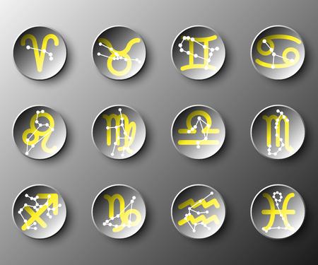 Simple, noir, 3D, cercle, papier, zodiaque, astrologie, signe, vecteur, conception, Illustration, concept