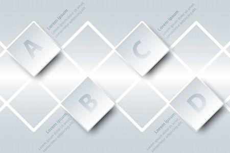 Quatre sujets simple papier blanc carré 3D sur grille blanche pour présentation de site web affiche affiche vecteur conception infographique illustration concept