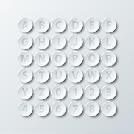 Simple, blanc, 3D, cercle, papier, alphabet, nombre, icône, vecteur, conception, Illustration, concept Illustration