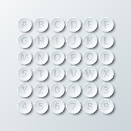 Simple white 3d circle paper of alphabet and number icon for vector design illustration concept