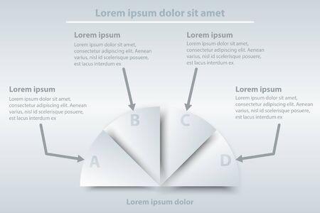 Quatre thèmes du simple papier blanc 3d demi-cercle pour la présentation du site Web Affiche vectoriel design vectoriel infographique illustration concept2 Illustration