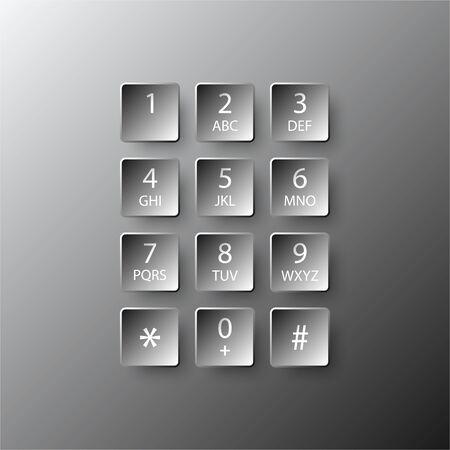 Simple noir numéro 3D numéroz le bouton carré papier pour la présentation du site couverture affiche vecteur conception infographique illustration concept
