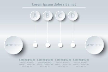 Quatre thèmes du simple cercle blanc en ballon en papier blanc avec la ligne de temps pour la présentation du site Web affiche vecteur conception vectorielle infographique concept