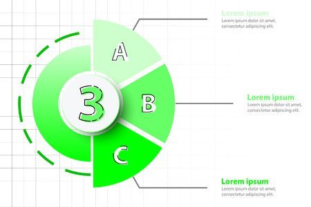 Three topics of Green half pie chart with 3d paper circle in center for website presentation cover poster vector design infographic illustration concept