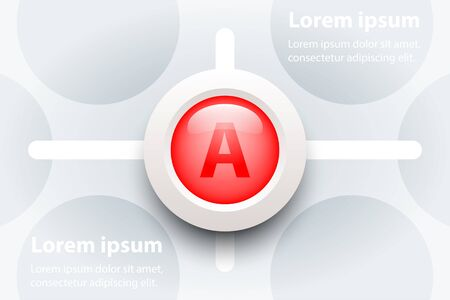 Red 3d paper circle in sequence timeline on pattern for presentation cover poster vector design infographic illustration concept Çizim
