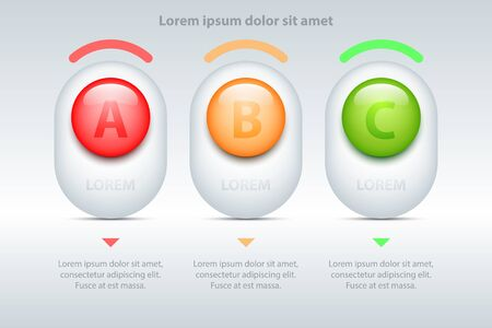 Colorful Three topics 3d marble circle on white square for presentation cover poster vector design infographic illustration concept