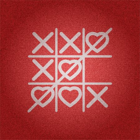 White heart tic tac toe game on red denim texture background vector concept design illustraion