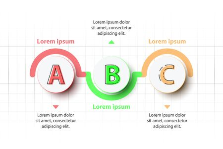Three topics Colorful 3D paper circle on timeline for website presentation cover poster vector design infographic illustration concept Illustration