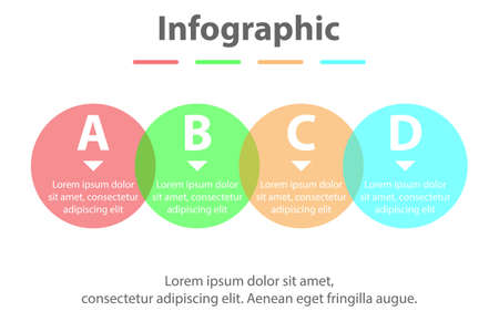 Four topics simple Colorful translucent circle in sequence timeline for presentation cover poster vector design infographic illustration concept