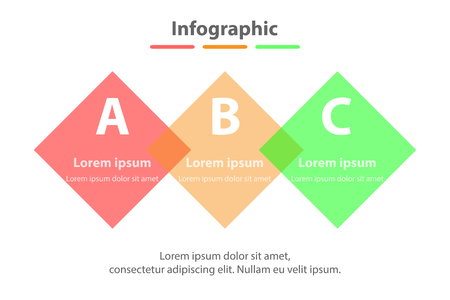 Three topics simple Colorful translucent square in sequence timeline for presentation cover poster vector design infographic illustration concept Illustration