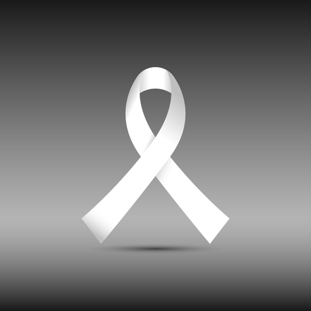 White awareness ribbon isolated on black background icon vector graphic design Illustration
