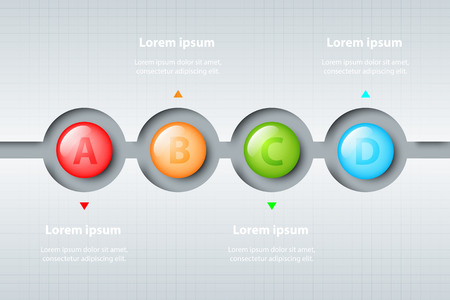 Four topics of colorful 3d marble circles in timeline carve white template for website presentation cover poster vector design infographic illustration concept Illustration