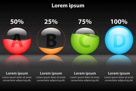Colorful percentage marble on grossy glass for website presentation cover poster vector design infographic illustration concept Illustration