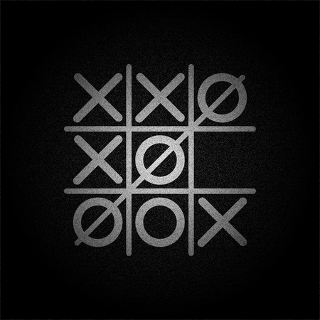 White Tic tac toe game on black denim texture vector concept design illustraion Stok Fotoğraf - 86740580