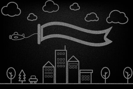 Simple white outline airplane with brochure ribbon fly on the city town in black denim texture vector design concept illustration Illustration