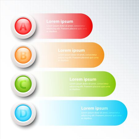 Colorful circle 3d with four topics for website presentation cover poster vector design infographic illustration concept