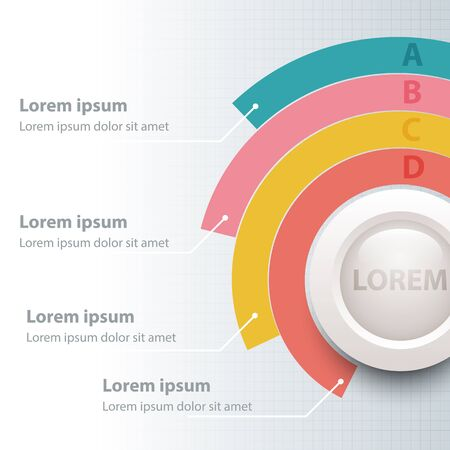 Colorful pie chart with white 3d circle for website presentation cover poster vector design infographic illustration concept