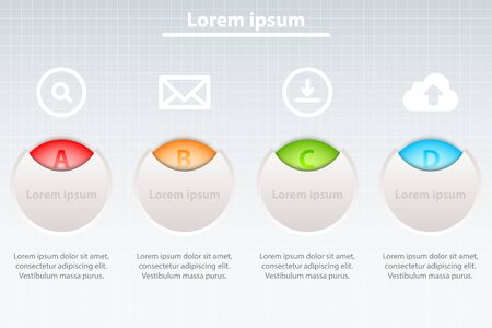 Four colorful topics in 3d circles with white icons for website presentation cover poster vector design infographic illustration concept