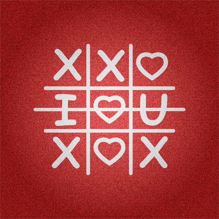 White tic tac toe game with I love you sign symbol on red denim texture background vector concept design illustraion