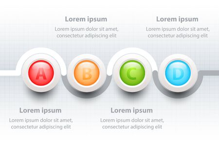 Four topics Colorful 3D circle on timeline for website presentation cover poster vector design infographic illustration concept Illustration