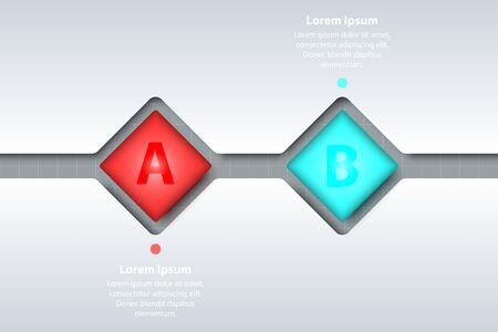 Two topics of colorful 3d fliped square in timeline carve white template on white grid for website presentation cover poster vector design infographic illustration concept