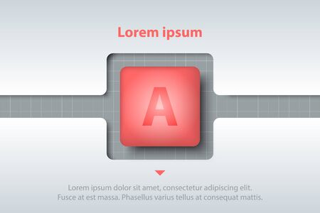 Red 3d square in timeline carve white template on white grid for website presentation cover poster vector design infographic illustration concept Illustration
