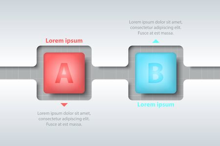 Two topics of colorful 3d square in timeline carve white template on white grid for website presentation cover poster vector design infographic illustration concept Illustration