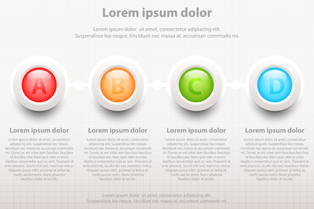 Four colorful topics 3d circles infomation for website presentation cover poster vector design infographic illustration concept