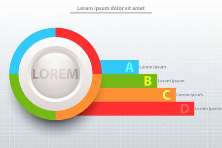 Colorful pie chart with white 3d circle and colorful stripe for website presentation cover poster vector design infographic illustration concept Illustration