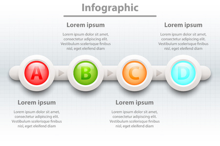 Colorful four topics 3d paper circle in sequence timeline for website presentation cover poster vector design infographic illustration concept