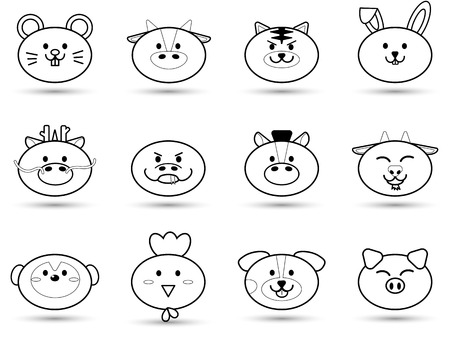 Simple outline fatty cute head of Animal sign symbol for Chinese zodiac horoscope collection set vector icon design illustration