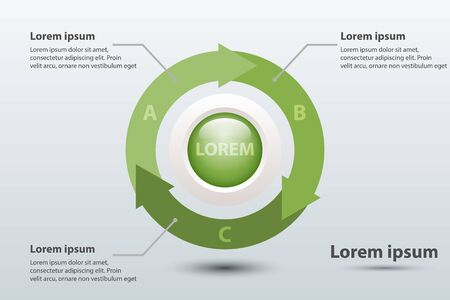 Three topics green arrow chart 3d paper with circle in center for website presentation cover poster vector design infographic illustration concept