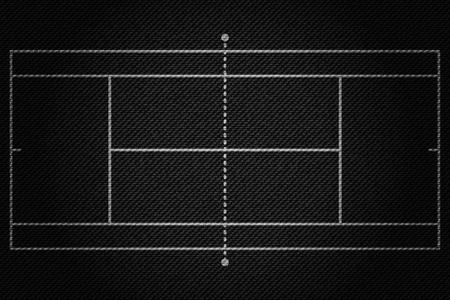 Realistic Black Denim texture of Tennis field element vector illustration design concept
