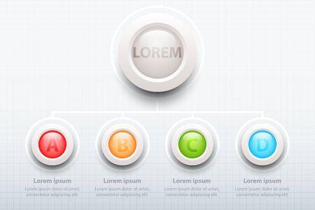 Quatre sujets Cercles 3d colorés dans organigramme pour la présentation de site Web couverture affiche vector design infographie illustration concept Illustration