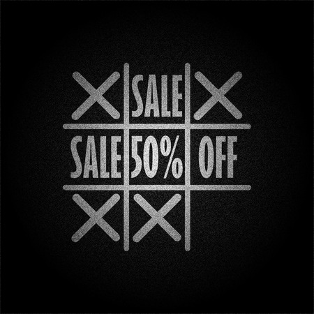 Tic tac toe game with word sale 50% off on black background denim texture vector concept design illustraion