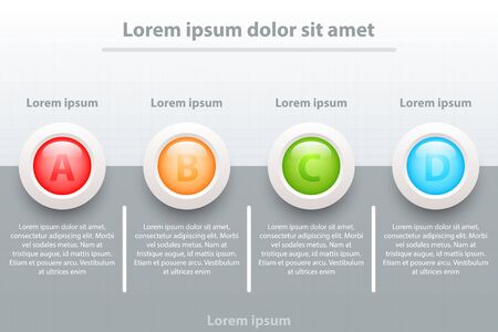 Four topics Colorful 3d paper circles on half dark grey for website presentation cover poster vector design infographic illustration concept