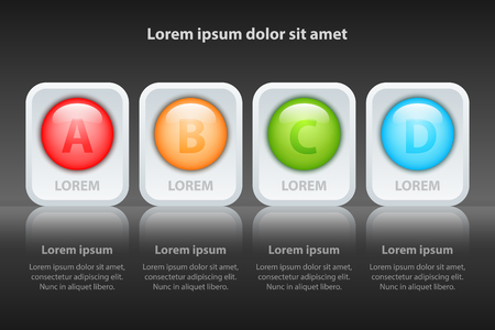 Colorful Four topics 3d circle on white square and reflection glossy for presentation cover poster vector design infographic illustration concept