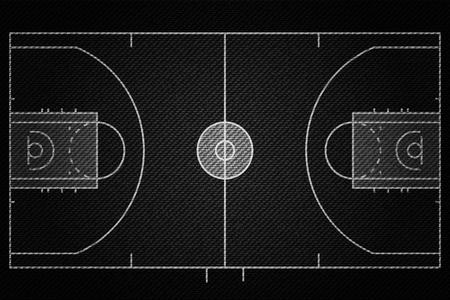 Realistic Black Denim texture of Baseketball court field element vector illustration design concept