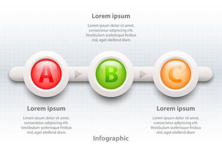 Colorful three topics 3d paper circle in sequence timeline for website presentation cover poster vector design infographic illustration concept Illustration