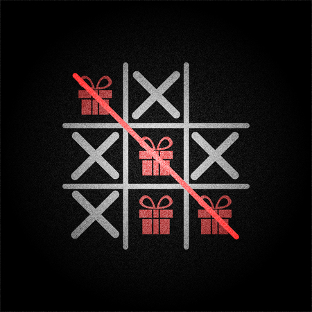Tic tac toe game with red present box on black background denim texture vector concept design illustraion