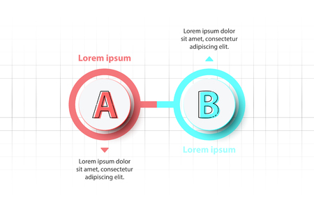 Two topics Colorful 3D paper circle on timeline for website presentation cover poster vector design infographic illustration concept Illustration